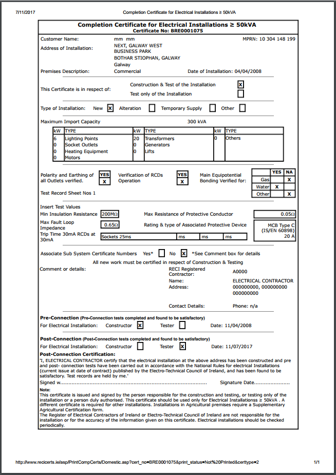 Electrical installation test certificate template pat for Electrical minor works certificate template