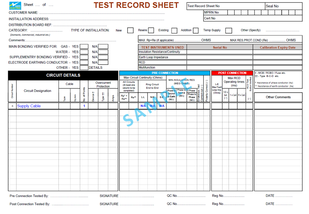 Test Record Sheet Sample Contractors Area
